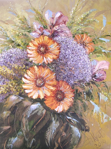 Sold paintings A bouquet with transvaal daisies