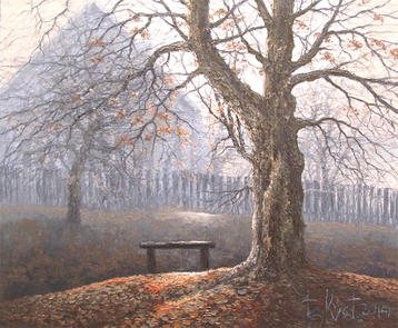 Sold paintings Autumn bench