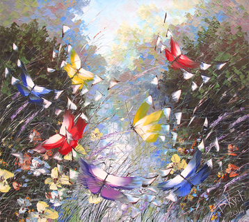 Sold paintings Butterflies over the pond