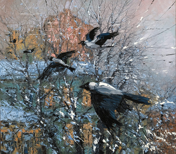 Gallery Crows over winter roofs