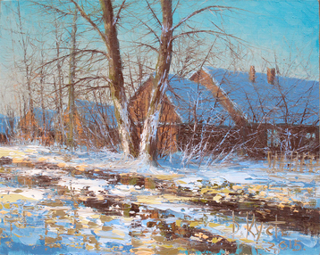 Sold paintings Etude Winter in the village