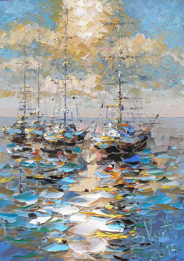 Sold paintings Etude Cloud over the mooring