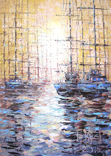 Sold paintings Etude Sunrise over the mooring