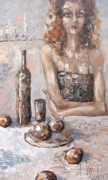 Gallery Woman, wine and fruit