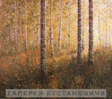 Sold paintings The autumn sun in the birch forest