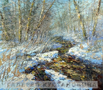 Sold paintings The stream in the winter forest