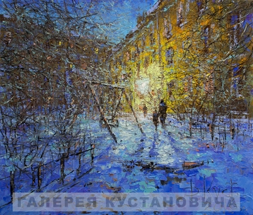 Sold paintings St. Petersburg yard on a winter evening