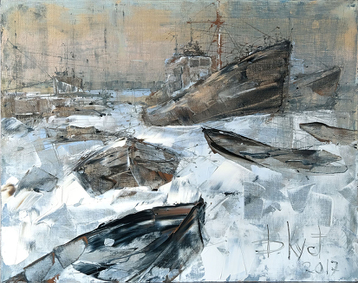 Gallery Sketch of Boats in the snow