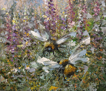 Sold paintings Two of the bumblebee in the summer grass