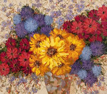 Sold paintings Autumn bouquet with sunflowers