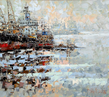 Gallery In the port on the Neva in winter