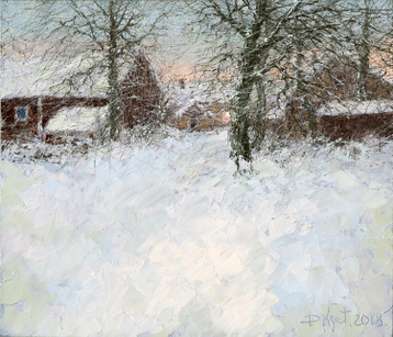 Sold paintings Snowy evening in the village