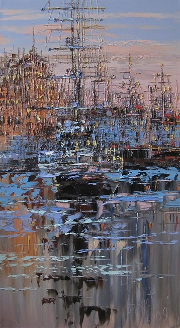 Sold paintings On the waterfront before dawn