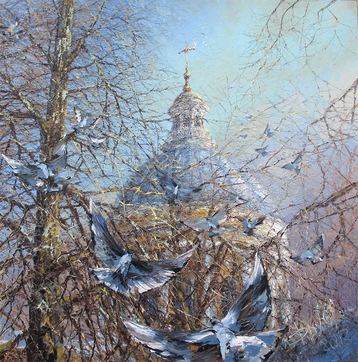Sold paintings Across the spring trees. Alexandro-Nevskaya monastery