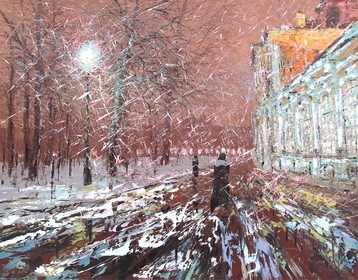 Sold paintings Pre-Christmas snow. Alexander Nevsky Lavra