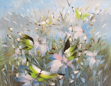 Sold paintings Azure morning. From series Butterflies