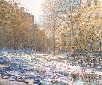 Sold paintings March snow. From series Petersburg court yards