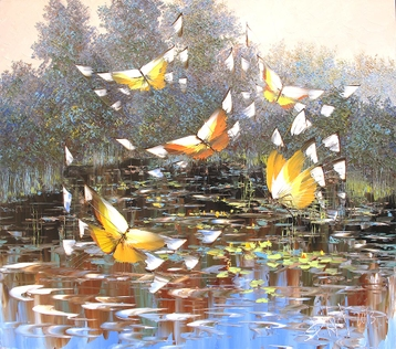 Sold paintings Butterflies over a pond. From series Butterflies