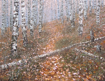 Sold paintings The path in the autumn birch forest